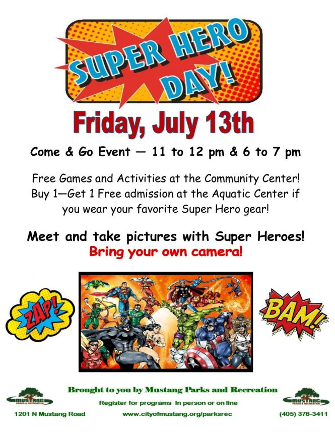 friday july 13th super hero day city of mustang oklahoma