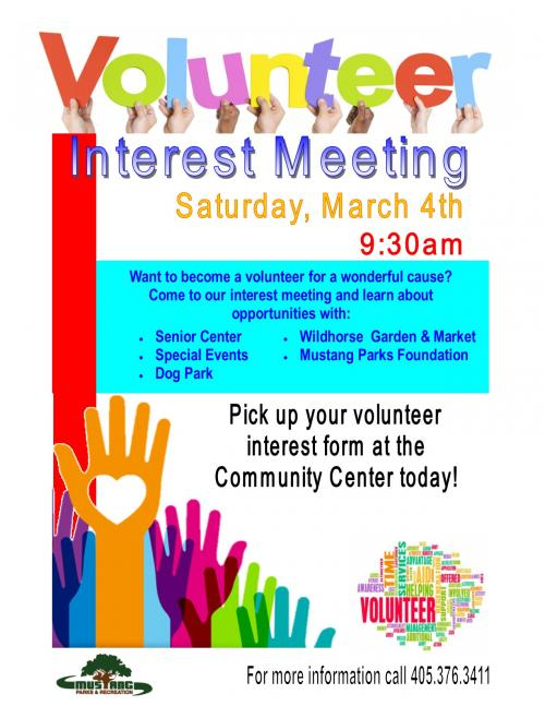 Volunteer In Your Community City Of Mustang Oklahoma
